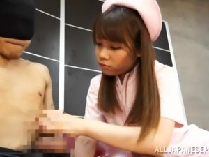 japanese nurse reaches in patient's underwear
