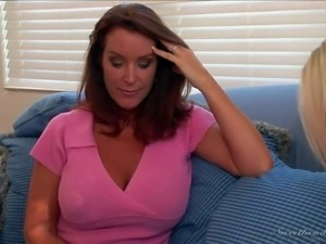 Stacked Rachel Steele in pink blouse and charming blonde Aubrey