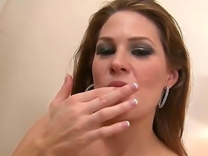 Arousing slut Allison Moore loves sucking and swallowing huge load of warm...