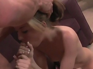 Blonde hottie Jeanie Marie enjoys one large dick stretching her tight vag in...