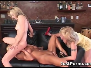 Three sexy blonde milfs have fun licking and fucking pussy with their toys.