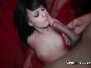 VIP brunette slut getting pussy nailed hard and jizzed