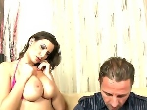 Athletically shaped young man David Perry got his dick titjobbed by Sara...