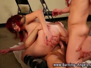 Teen emo bitch gets dp action during threeway with teachers
