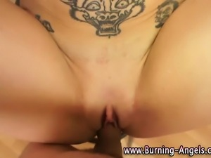 Emo sweet hot bitch with dirty tattoos gets fucked pov style