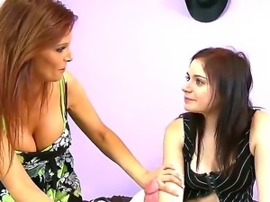 Lusty cock addicted whorish milf  Syren De Mer with heavy make up and big...
