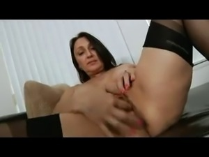 Mature In Stockings Shows Her Meaty Pussy And Excited Clit