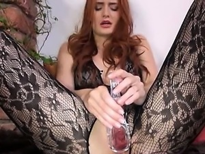 Gyno vibrator in her huge redhead vagina