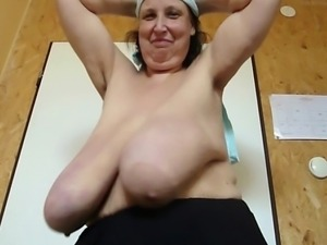 Mature bbw with super large breasts macromastia.