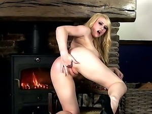 Young provocative blonde bitch Jane with big juicy hooters and pretty face in...