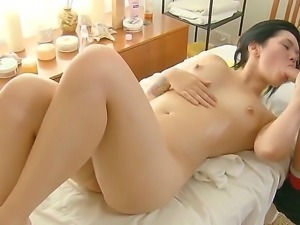 Man gives unforgettable intimate massage to this fresh beauty with silky skin...