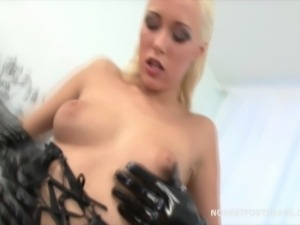 Dolly tried two cocks in her ass