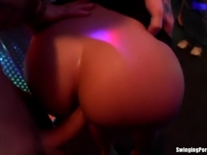 Long haired party slut gets slick pussy nailed hard in public in the club