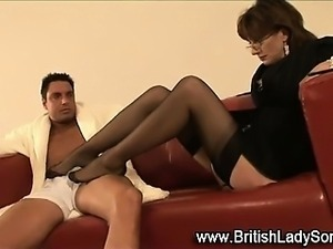 Femdom fetish mature stockinged brit