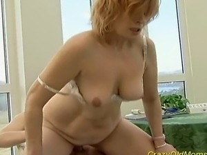 Crazy old mom gets hard cock