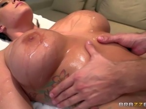 Curvy business woman Alison Tyler with perfect huge tits needs relaxing full...