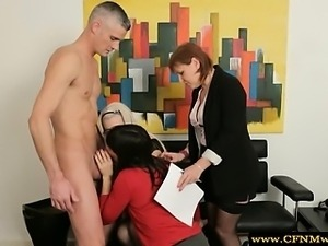 Femdom group give guy a blowjob