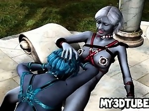 Two 3D lesbian aliens lick each others pussies