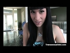 Teen shemale Bailey Jay stoking her gorgeous she cock