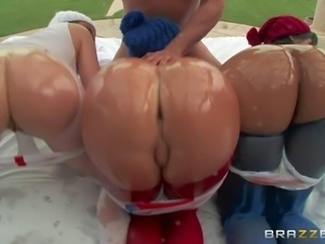 Krissy Lynn, Nikki Delano and Rose Monroe are Brazzers team for Big Ass...