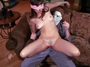 Sexy blindfolded brunette Dana Dearmond with natural tits and nice pink...