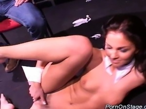 Scandal on stage stripper teasing this horny guy hard