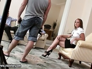 Blonde Kathia Nobili enjoys guys meaty rock solid love wand in her juicy mouth