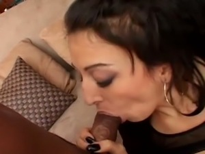 Three black studs fuck and cream a brunette milf