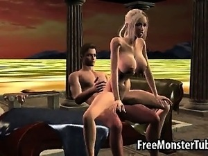 Busty 3D cartoon blonde babe getting fucked hard