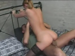 Lovely dutch blonde babe gets pink pussy drilled.