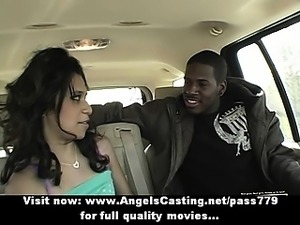 Amazing babe with black hair does blowjob for black guy in the car