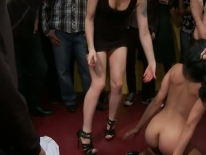 Slave humiliated and abused at a sex party