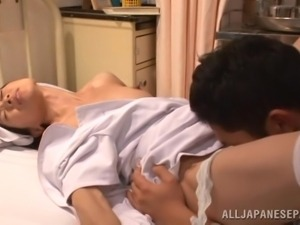 asian nurse gets drilled from back