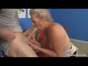 Horny blonde milf sucks a young stud's cock