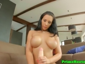 Natural big breasted brunette hoe rides big dildo