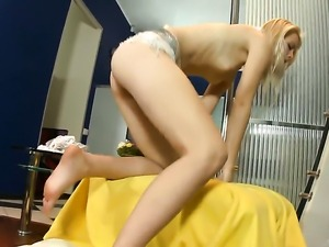 With tiny boobs and trimmed twat makes her sexual fantasies come true in solo...