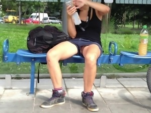 Teen pussy upskirt public bus stop young nude