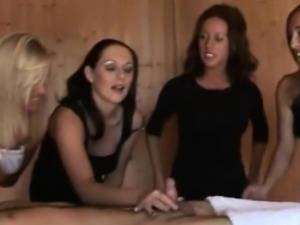 CFNM tugjob loving sluts giving hj at the sauna