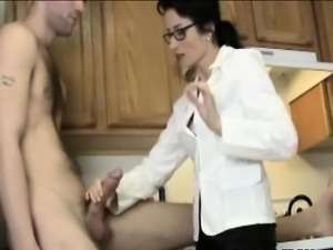 kitchen blowjob with milf