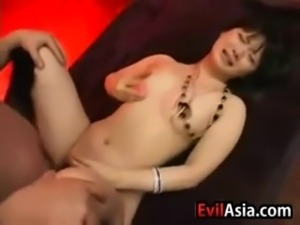 Hairy Japanese girl getting her ass fucked and pussy vibrated