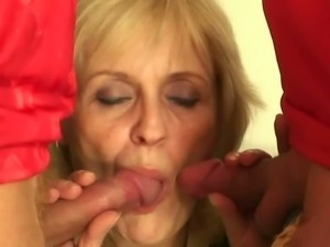 Drunk granny handles two young cocks