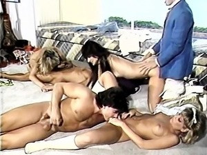 Crazy team group sex onto retro movie