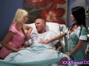 Young luscious babes dressed like nurses and share wild sucking on his rock...