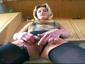 Pretty blonde mom with amazing ass and big tits in stockings fucking so good...