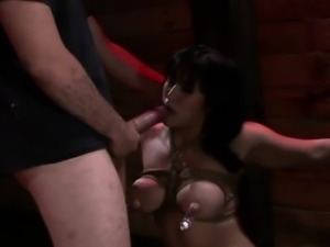 Bound asian gets throat fucked