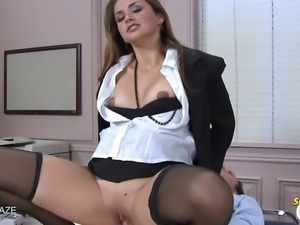 Allie Haze gets fucked in stocking hard before getting a load all over her...