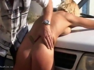 Outdoor whipping of blonde wife in hardcore public bdsm and milf humiliation...