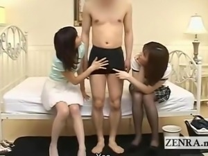 Subtitled CFNM two Japanese women ogle over erection