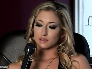 Blonde with gigantic tits sticks dildo so fucking deep in her vagina