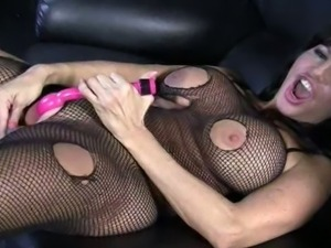 Tara holiday rips her bodystockings and jerks off